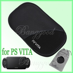 Free Shipping Shockproof Protective Black Leather Soft Colth Case Bag Pouch for Sony Playstation PS Vita PSV Console(China (Mainland))