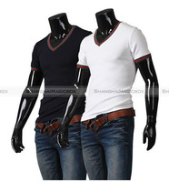 Shanghaimagicbox Men Fashion Casual V Neck Slim Modern T Shirt Top White Dark Blue M-XXL MTS015