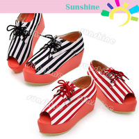 2paris/Lot Women's High Platform Wedge Retro Flats Peep Toe Loafers Stripe Sandals Shoes Free Shipping 13816
