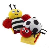 Baby rattles baby toys Lama Garden Bug Wrist Rattle and Foot Socks Educational for Baby Drop Shipping T112