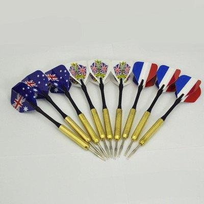 9 pcs (3 sets) Steel Needle Tip Dart Darts With National Flag Flight Flights B(China (Mainland))