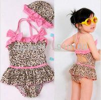 Free shipping 5sets/lot baby girls bikini set swimwear leopard print swimsuits girl onepiece swimwear+hat 2pcs kids beach wears