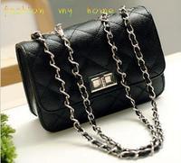 2013 New  small bags plaid chain  fashion black mini women's handbag messenger bag   free shipping