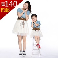 2013 clothes for mother and daughter family pack family fashion o-neck short-sleeve slim waist one-piece dress short skirt