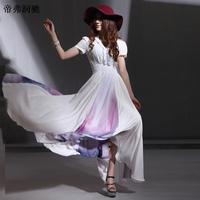 Женское платье 2013 Women' Bohemia multi layer ruffle Mopping the Floor Long Beach dress plus size printed Full Dress