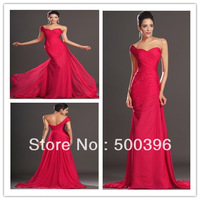 Custom Made Red Color One Shoulder Pleated Evening Dress Sexy Open Back Chiffon Long Prom Dress 2013 Free Shipping