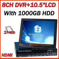"1000GB HDD 8 ch D1 cctv DVR  with 10.5"" Lcd display,Support HDMI, TV,VGA output, the video resolution is high to 1920 X 1080"