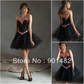 Free Shipping!!! C033 Knee Length Short Sweetheart Beaded Hot Pink And Black Prom Dress