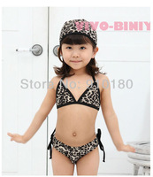 2013 new 5sets/lot baby girls bikini set baby swimsuit leopard print girls swimwear bikini+cap 3pcs kids beach wears
