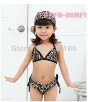 2013 new 5sets/lot baby girls bikini set baby swimsuit leopard print girls swimwear bikini+cap 3pcs kids beach wears