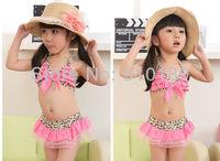 2013 new 5 sets/lot baby girls bikini set toddler swimsuit/swim wear bikini 2pcs kids leopard beach wears