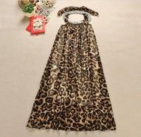 Free Shipping 2013 Summer New Sexy Leopard  Halter Backless Longuette Bohemian Woman's dress Sleeveless Tunic Sundress