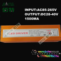 Waterproof 50W LED driver Constant Current drivers AC85V-265V to DC 21-40V 1500mA For 50W chip 10 Series 5 parallel