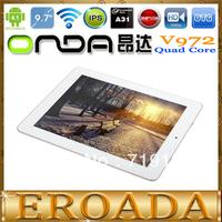 "9.7inch Onda V972 Quad core Tablet PC 9.7"" IPS III Retina Allwinner A31Quad core CPU 2GB RAM Camera 5.0MP HDMI Out 16GB ROM"
