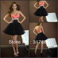2013 New Arrival Tulle Taffeta Mini A-Line Strapless Beaded Graduation Dress For Party