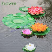 Free shipping! floating pool decoration 3pieces/lot aquarium fish tank fish pond  with lotus leaf half-open simulation lotus