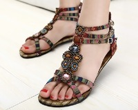free shipping New arrival 2013 sandals female national trend multicolour beads bohemia flat open toe flat heel sandals