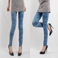Fashion female pocket faux denim legging guitar pattern elastic slim tight trousers