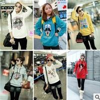 Female long design casual sweatshirt plus size fashion cartoon loose letter print with a hood fleece shirt