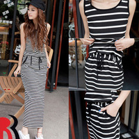 2013 Casual slim black and white stripe design long  fashion vintage bohemia dresses full dress