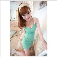 2012 gentlewomen sexy low-cut slim hip slim spaghetti strap mid waist one-piece dress