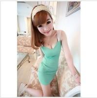 2012 gentlewomen sexy low-cut slim hip slim spaghetti strap mid waist one-piece dress