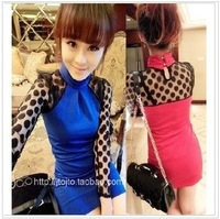 2012 gentlewomen sexy polka dot lace gauze perspective long-sleeve one-piece dress
