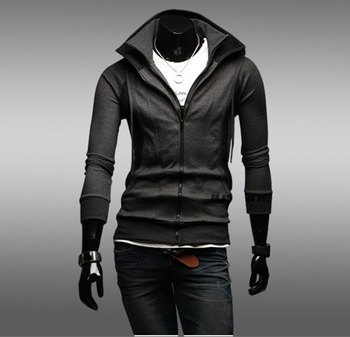 Free Shipping 2013 New Style Fashion Men's Clothing Hooded Cardigan Slim Hoodies Jacket Sweatshirts Cotton Hoody Jacket