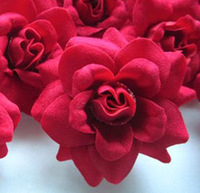 12   Roses Heads Artificial Silk Flower  1.75 inches Red