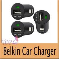 500PCS/LOT  Mini USB Car Charger Belkin Car Charger Green led for Phone 4s iPod ipad galaxy all phone 5V-2.1A  Freeshipping DHL