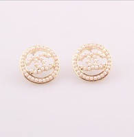Min.order is $15(mix order)Free shipping ,Newest black oil ABS jewelry,size 1.8*1.8cm girl/lady's earrings
