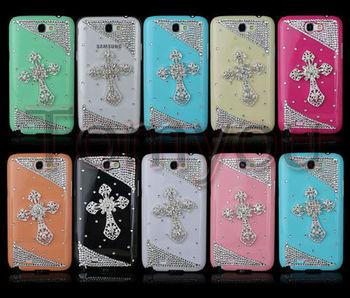 HOT SALE New Handmade Bling Cross Crystal Diamond Rhinestone Hard Case Cover For Samsung Galaxy Note II 2 N7100 Free Shipping