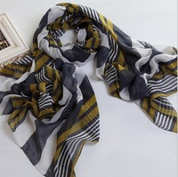 Pashmina stripe fashion shawl scarf polyester voile shawl with wholesale price(PVC030)