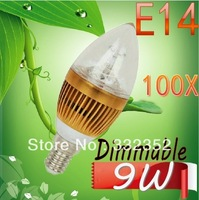 DHL FEDEX FREE Shipping 100X E14 3x3W 9W Dimmable AC85~265V LED Candel Light LED bulb lamp LED spotlight