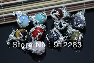 Free Shipping 10pcs Hot Sell Fashion Silver Dragon Round Balls Metal Necklace Pendant ,Fashion Necklace Pendant(China (Mainland))