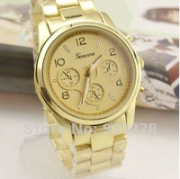 Retail sale 1PC/LOT wholesale  fashion good alloy metal band,precise Japan PC21 imported movement no diamond Geneva watch