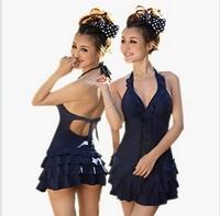 2013 One Piece Swim Dress Beach Dress Plus Size Female Hot Spring Swimwear Women Backless Swimsuit Swimming