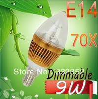 DHL FEDEX FREE Shipping 70X E14 3x3W 9W Dimmable AC85~265V LED Candel Light LED bulb lamp LED spotlight