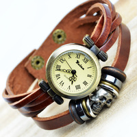 Fashion vintage calf skin bracelet watch personalized skull watches bracelet watch retro finishing lovers table