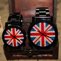 M word flag pattern male watch lovers steel spermatagonial fashion vintage rhinestone ladies watch