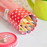 Tin colored pencil set 12 circle mini n times stickers 0711