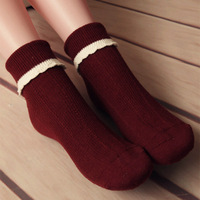 Roll up hem female socks fashion piles of socks 100% cotton socks vintage socks