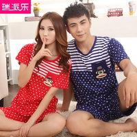 Summer lovers sleepwear music modal male women's cartoon short-sleeve stripe lounge set