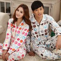 Lovers sleepwear new arrival cotton 100% spring and autumn long-sleeve sleepwear male women's dot lounge set