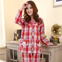 New arrival spring and autumn summer sleepwear woven cotton plaid cartoon long-sleeve sleepwear women's