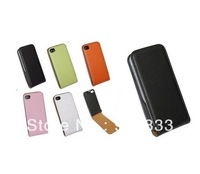 100PCS/LOT-Colorful Leather Flip Skin Case Cover For iphone 4 4G 4S/TNT Freeshipping