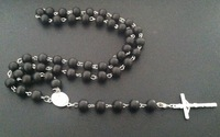 Mens Beckham Cross Pendant Black 10mm Natural Wood Bead Rosary Beads Necklace  Free Shipping