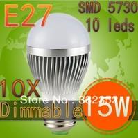 10XUltra Bright Epistar chip E2715W SMD 5730 10leds Bubble Ball Bulb LED bulb, AC85-265V ,warm/cool white, Free Shipping
