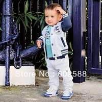 Hot 5sets/lot 3pcs/set(boy coat+tshirt+pant) kids sport clothing set children sport suit kid clothes