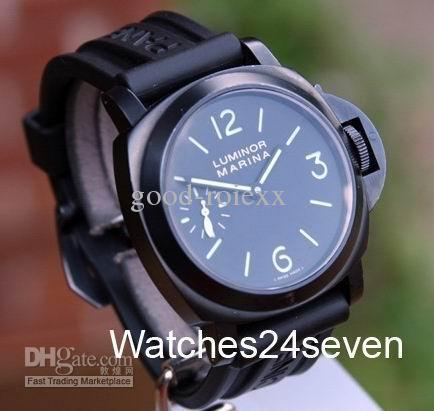 Mens Black DLC PVD coated Luminor Marina Watch Sandwich Dial Pam 111 Sport Watches(China (Mainland))